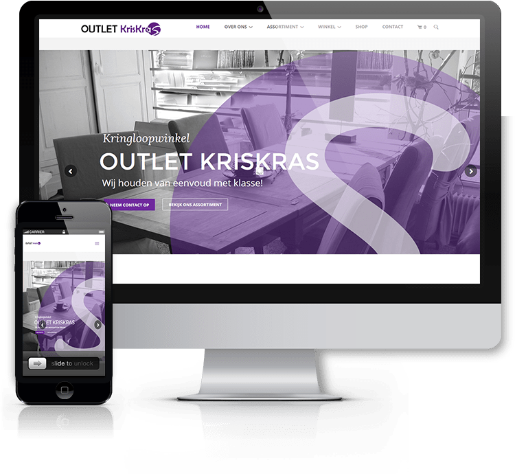webdesign voor outlet KrisKras|by-spiritdesign.com